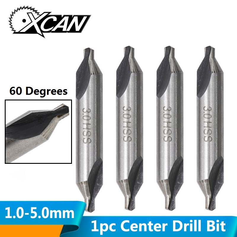 XCAN HSS Center Drills Bit 60 Degree Metal Drill Bit Power Tools Hole Drilling Hole Cutter 1.0/1.5/2.0/2.5/3.0/3.5/4.0/5.0mm