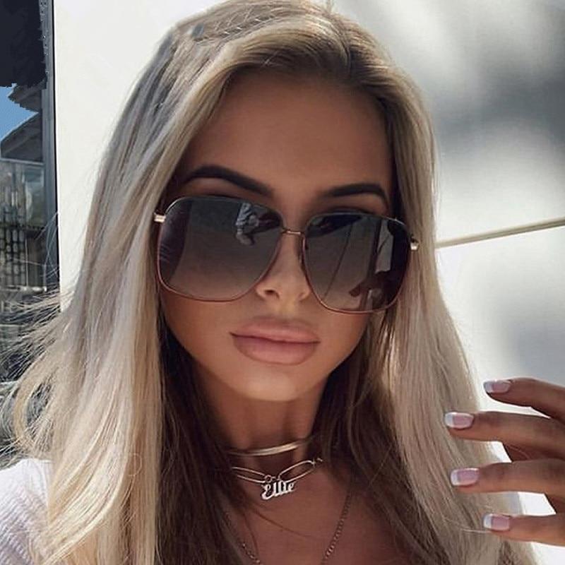 2020 Metal Oversized Women Sunglasses Brand Designer Classic Gradient Mirror Female Sun Glasses Men Shades UV400 Oculos