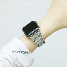40mm/44mm/38mm/42mm 스테인레스 스틸 밴드 스트랩 애플 시계 시리즈 6 5 4 3 2 여성 럭셔리 다이아몬드 라인 석 팔찌