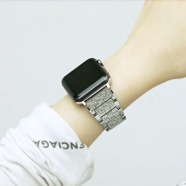 40mm/44mm/38mm/42mm Stainless Steel Band Strap For Apple Watch Series 6 5 4 3 2 Women  Luxury Diamond Rhinestone BraceletWatchbands