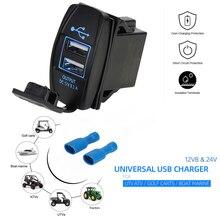 12Vและ24V ATV USB Backlit Rocker SwitchสำหรับCan AmสำหรับJohn DeerสำหรับPolaris RZR 900 800 1000รถจักรยานยนต์ชาร์จ