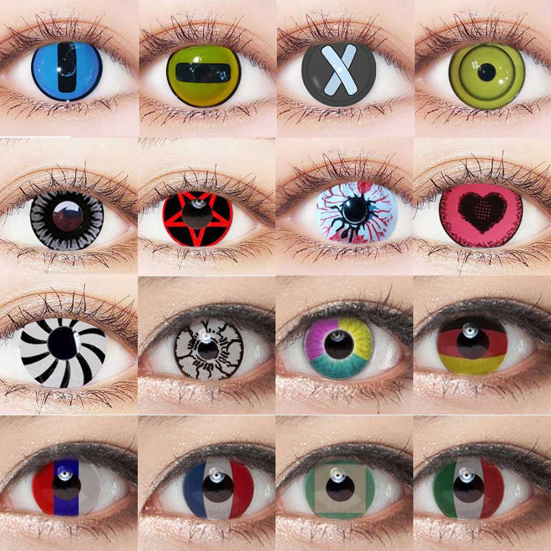 CALK 1 para (2 sztuk) Cosplay kolorowe szkła kontaktowe dla oczu Halloween kosmetyczne soczewki kontaktowe kolor oczu piękno skontaktuj się z