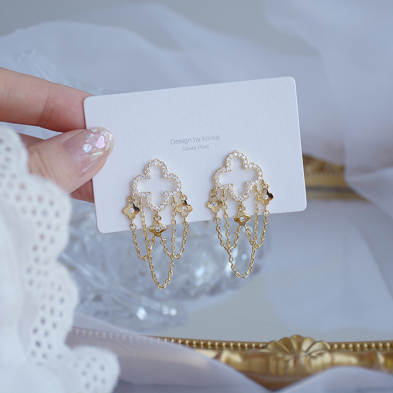 14K Real Gold Plated Tassel Dangle Earrings for Women Designer Luxury Jewelry High Quality Micro-inlaid AAA Zircon S925 Needle