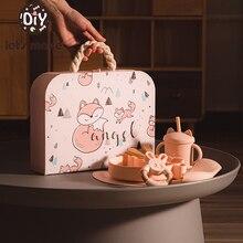 let's make Children Tableware Set Baby Feeding Bowl Cute Boss Kids Gift Bowl Set Natural Silicone Tableware Environmental 2021