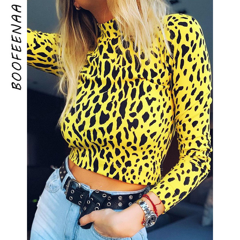 BOOFEENAA Leopard Print High Neck Long Sleeve T Shirt Fall Winter Boutique Women Clothing Sexy Crop Top Neon Graphic Tees C66I49