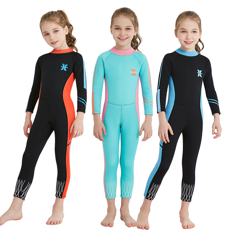 Children One-piece Long Sleeves Wetsuit 2.5MM Neoprene Diving Suit Warm Wetsuit Girls UV Protection Swimwear Rash Guards Surfing