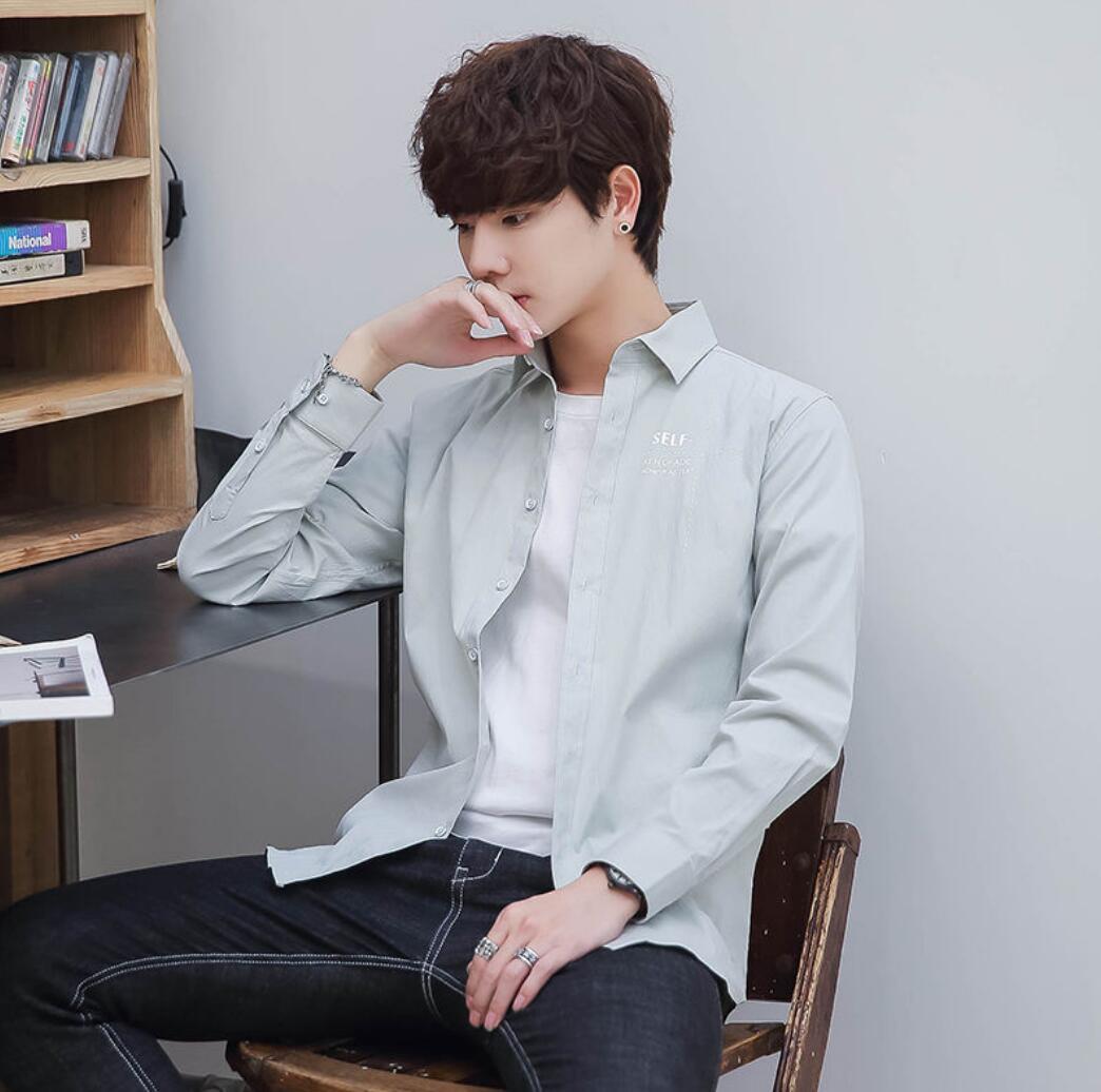 2019 Spring New Men's Cotton Long-sleeved Shirt Youth Slim Casual Shirt Shirt Men's Clothing K3825-01-08