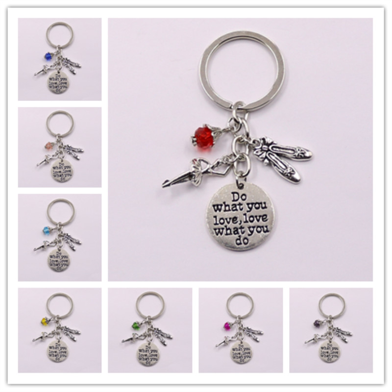 1pcs Do What You Love Charms Bead Key Chain Ballerina Keyring Ballet Gifts For Women Girl Dancer Jewelry(China)