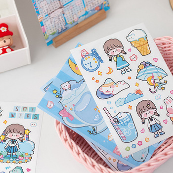 Kawaii calendar notes stickers Maruko's holiday sleepwalking hand-painted cartoon hand account DIY material stickers image