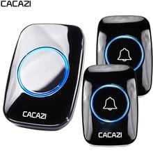 CACAZI 60 Chime 110DB Wireless Doorbell Waterproof 300M Remote EU Plug Smart Doo
