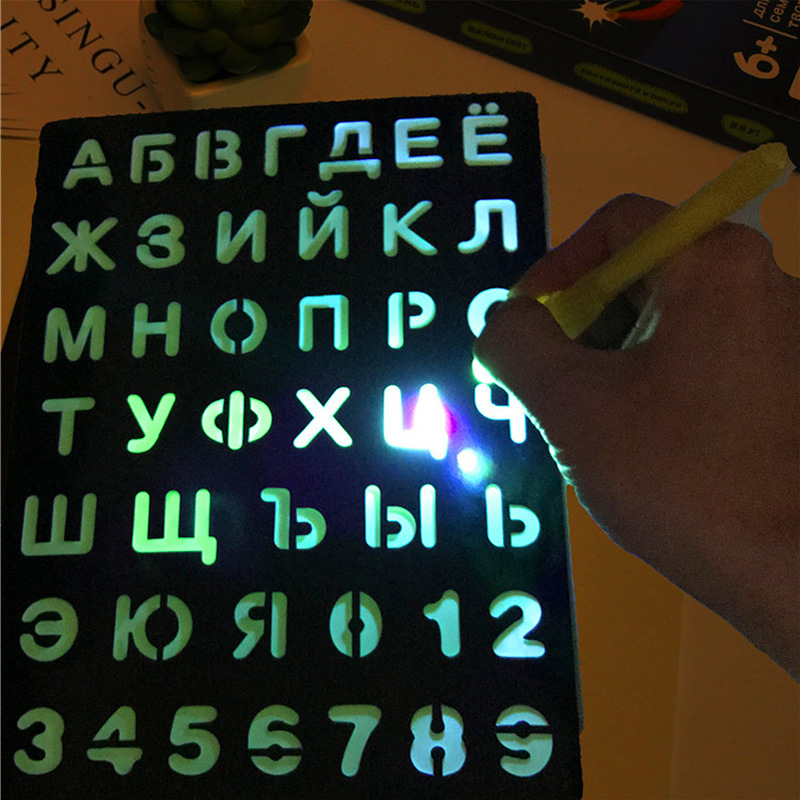 LED Luminous Drawing Board Graffiti Doodle Drawing Tablet Magic Draw Light-Fun Fluorescent Pen Educational BoyGirl ChristmasToys