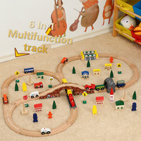 6 in 1 Track Railway Plane Wooden Train Track Set Magnetic Car Model Puzzles Wooden Railway Early Educational Toys For Children