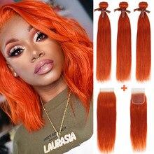 Remy Форте 613 блондинка оранжевый пряди с закрытием прямые волосы пряди с закрытием бразильские волосы, волнистые пряди 3 пряди