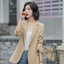 Korean Loose Ladies Blazer Beige Simple Casual Suit Jacket Long Sleeve Stylish Chamarras Mujer High Street Women Blazer MM60NXZ