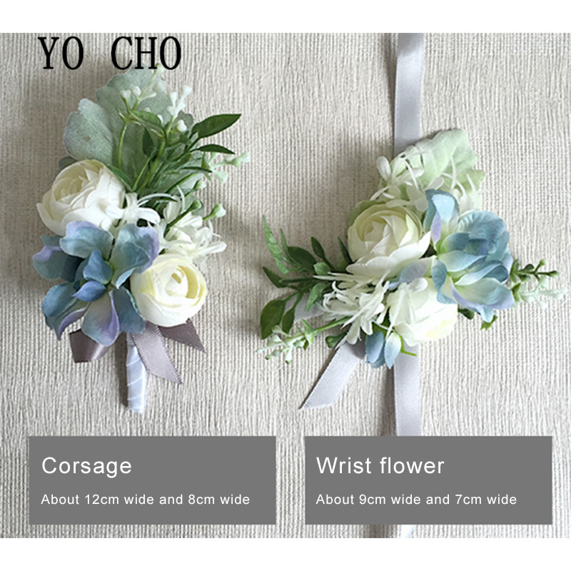 YO CHO Artificial Flower Silk Roses White Wedding Corsage Pin Groom Boutonniere Flowers Cuff Bracelet Bridesmaid Wedding Flowers