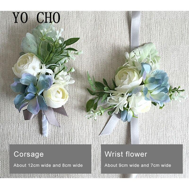 YO CHO Artificial Flower Silk Roses White Wedding Corsage Pin Groom Boutonniere Flowers Cuff Bracelet Bridesmaid Wedding Flowers