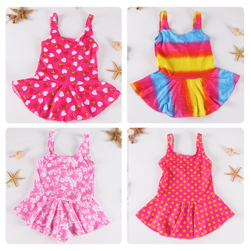 Girls One-piece Triangular Bathing Suit Big Boy Skirt Bikini CHILDREN'S Swimsuit Summer KID'S Swimwear