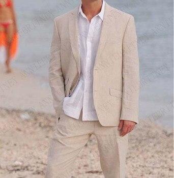 ANNIEBRITNEY Summer Champagne Linen Suits Men 2019 Party Wedding Beach Prom Groom Wear Tuxedo Tailored Blazer Pants Men Suit Set