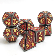 skull Metal D&D Dice, 7 PCs DND Dice, Polyhedral Dice Set, for Role Playing Game MTG Pathfinder