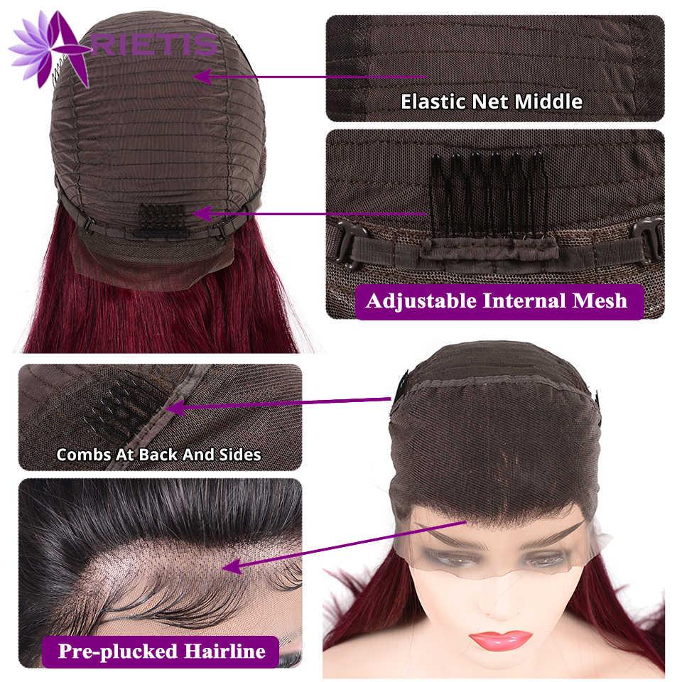99j glueless frente do laço perucas de cabelo humano brasileiro remy em linha reta peruca do cabelo humano pré arrancado com o cabelo do bebê peruca do laço de borgonha