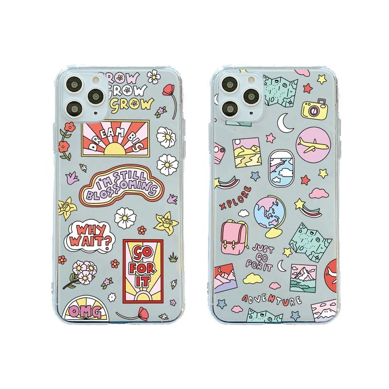 Cute Cartoon Plane World Tour Map Phone Case For Huawei P40 P30 P20 Lite Mate 20 30 Pro P Smart Nova 5T Honor 10 8X Soft Cover