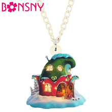 Bonsny Acrylic Christmas Anime Castle House Necklace Pendant Chain Choker Decoration Jewelry For Women Girl Teen Gift Accessory(China)