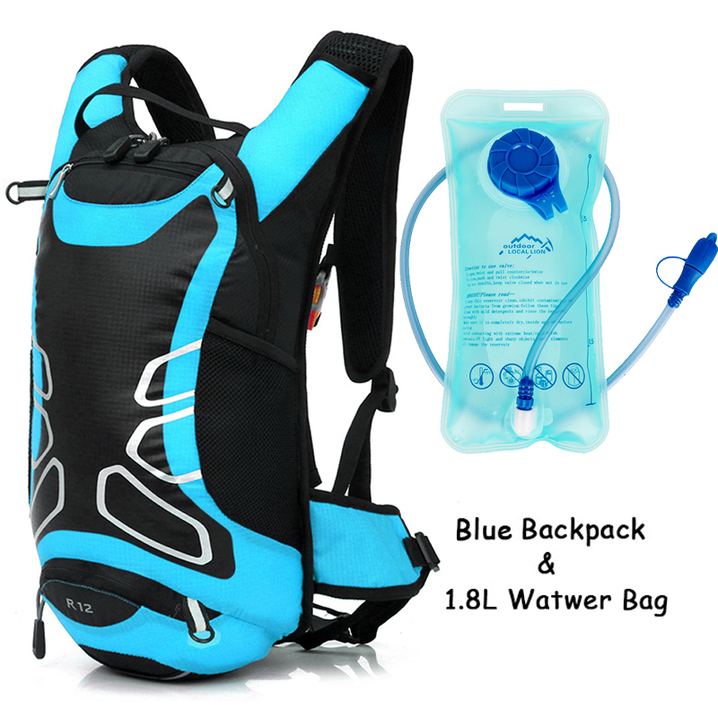 12L Cycling Hydration Backpack Water Bag Outdoor Sport Backpack Night Reflective Running Backpack With 1.8L Bladder Water Bag