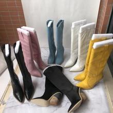 Модные женские сапоги до колена с острым носком; коллекция года; сезон осень-зима; рыцарские сапоги из натуральной кожи; женские сапоги; EU35-40 размеры; BY716