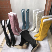 Fashioon womens pointed toe knee boots  2019 Fall/winter real leather Knight Boots women EU35-40 size BY716
