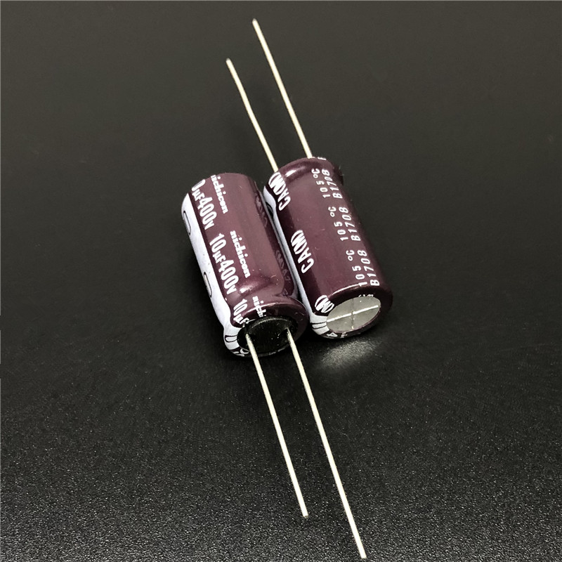 10pcs 10uF 400V NICHICON CA Series 10x20mm High Ripple Current Long Life 400V10uF Aluminum Electrolytic Capacitor