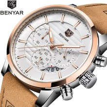 Benyar New Watches Men Luxury Brand Chronograph Sports Waterproof Leather Quartz Mens Watch Relogio Masculino