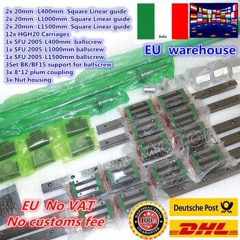 3sets Square Linear guide L-400/1000/1500mm & 3pcs Ballscrew SFU2005-400/1000/1500mm with Nut & 3set BK/B12 & Coupling CNC Kit