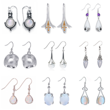 Vintage Silver Hook Dangle Earrings Women Hanging Long Drop Moonstone Fashion Antique Boho Retro Jewelry