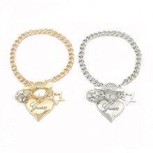 Hot Sale Love Heart Charms Bracelets For Women Gold Silver C