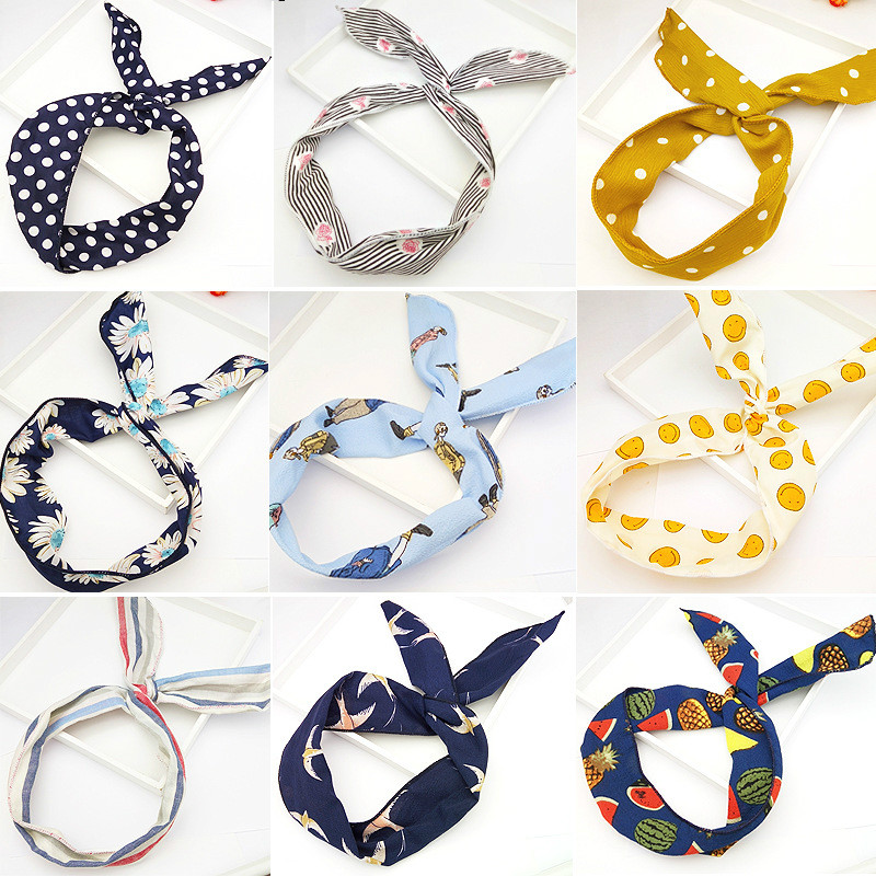 New Harajuku Strips Print Flower Bunny Rabbit Ear Ribbon Headwear Hair Band Metal Wire Scarf Headband Hair Accessories Head Hoop