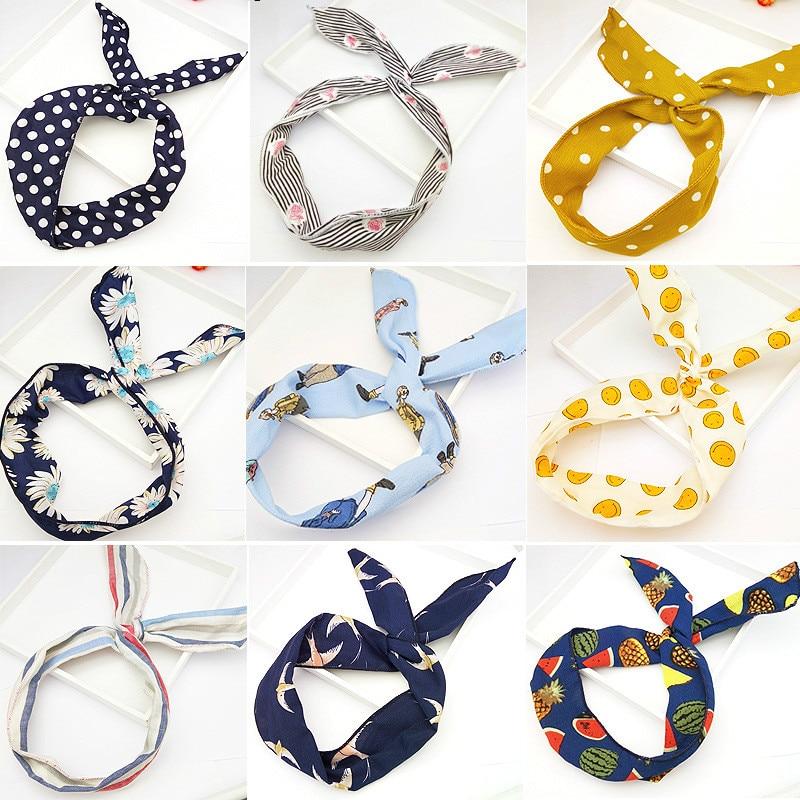 new Harajuku Strips Print Flower Bunny Rabbit Ear Ribbon   Headwear   hair band Metal Wire Scarf Headband Hair Accessories Head Hoop