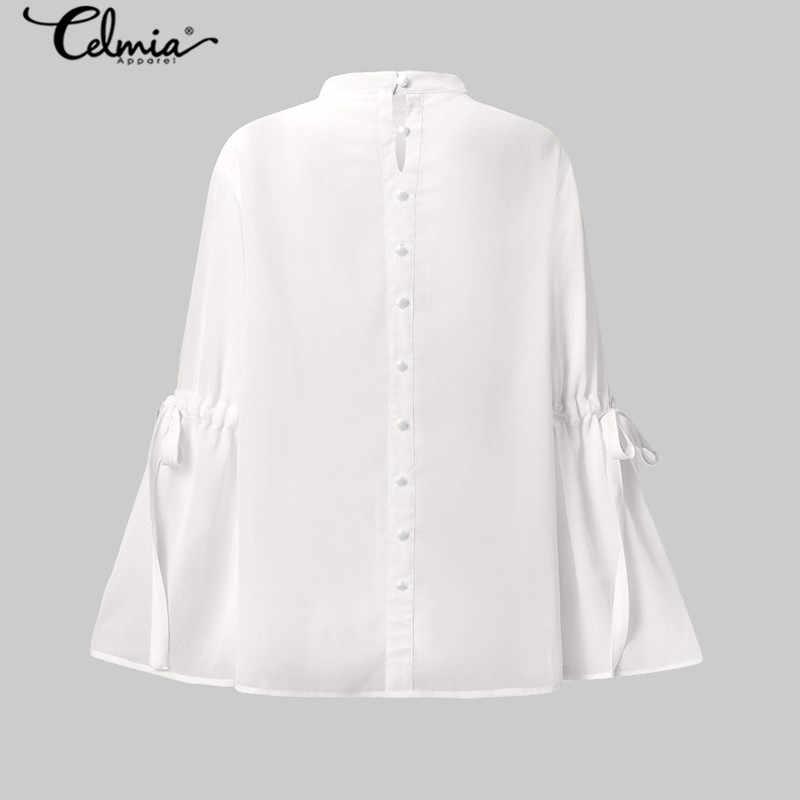 세련된 솔리드 프릴 블라우스 여성 2020 celmia 패션 긴 플레어 슬리브 메쉬 탑스 캐주얼 시스루 셔츠 elegant blusas 5xl
