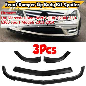 New 3xCar Front Bumper Lip Body Kit Spoiler Diffuser Cover For Mercedes For Benz C CLASS W204 C180 C200 C220 C250 C300 2011-2014 image