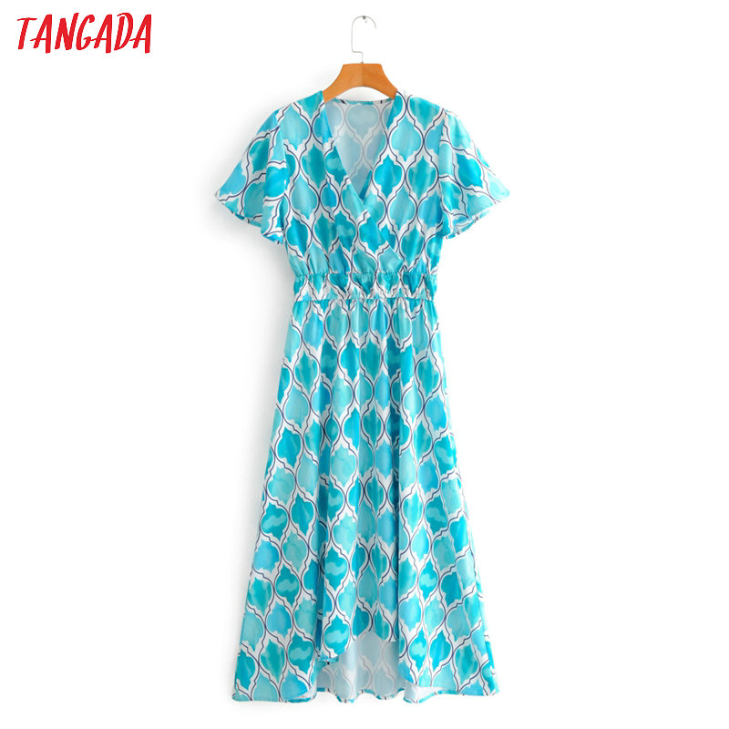 Tangada Fashion Women Blue Print Office Dress 2020 Summer V Neck Ladies Elegant Chiffon Midi Dress Vestidos 2F60