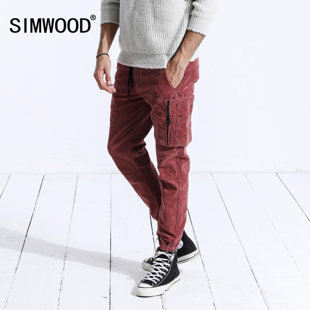 SIMWOOD Brand Casual Men Cargo Pants 2019 Winter Long Thick Corduroy Pants Men Skinny Trouser Cotton Plus Size Sweatpants 180455