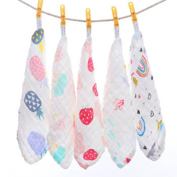 density six layer Baby Wash small square towel pure cotton square towel baby handkerchief cartoon printing saliva towel six layers of gauze cotton square towel children towel fold a handkerchief plain printed saliva towel