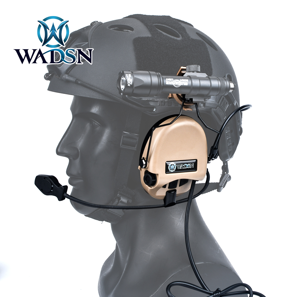 WADSN Tactical Sordin Headset Noise Canceling Shooting Military Airsoft CS Paintball Pickup Headphone with Helmet Rail Adapter