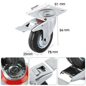 Image 2 - 4 pièces 75mm robuste 200kg pivotant roues de roulette chariot meubles chaise roulette en caoutchouc frein chariot roue ruedas para mueble