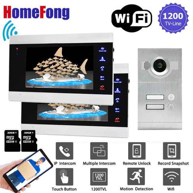 Homefong 7 Inch Wifi Video Door Phone Apartment Video Intercom System Doorbell With 2 Button IP Wireless Access Control System