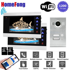 Image 1 - Homefong 7 inç Wifi görüntülü kapı telefonu daire görüntülü interkom sistemi kapı zili 2 düğme IP kablosuz erişim kontrol sistemi