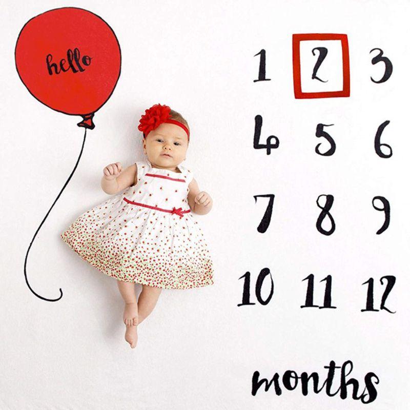 Newborn Baby Milestone Number Balloon Pattern Mat Blanket Photography Background Backdrop Cloth