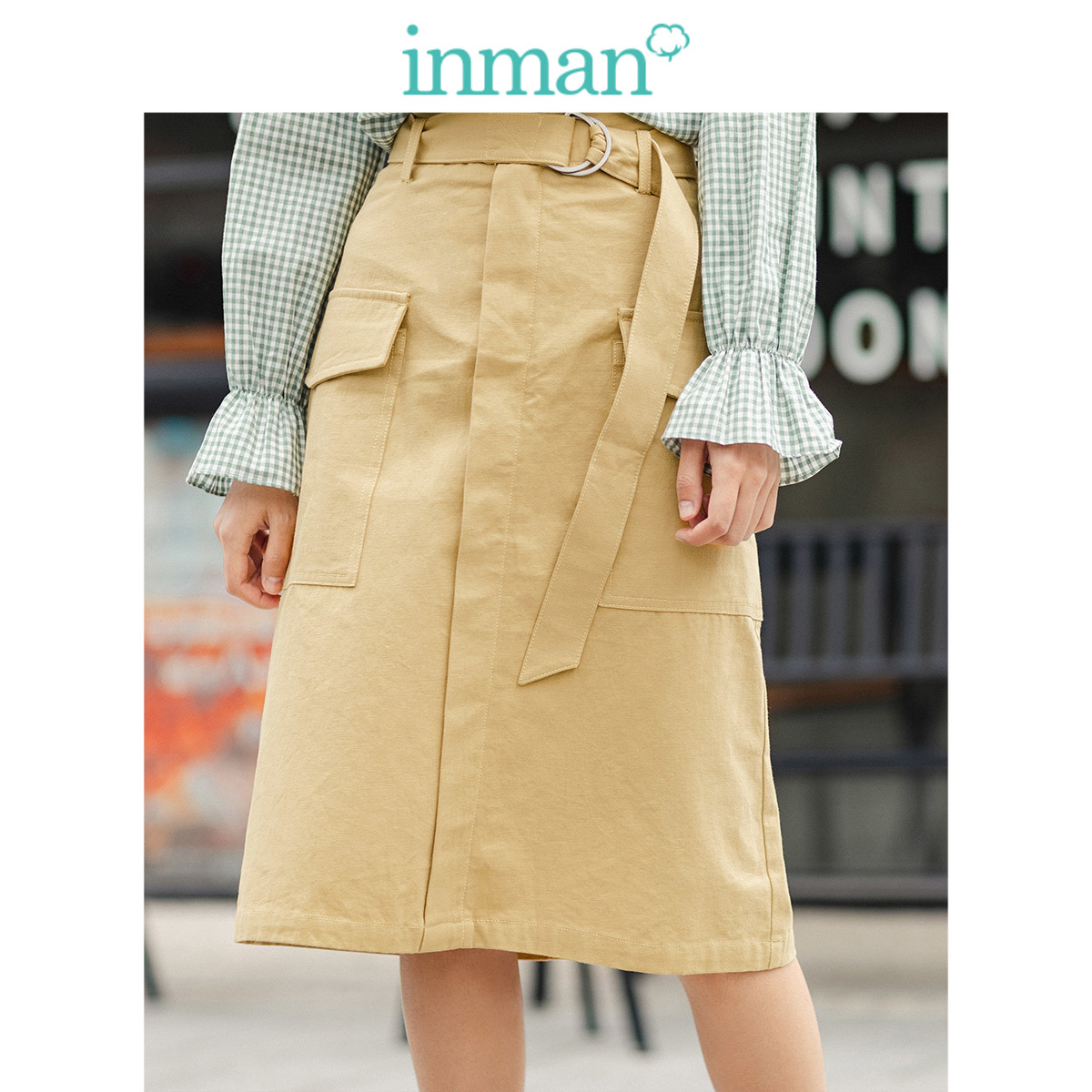 INMAN 2020 Spring New Arrival Solid Color Waist Belt Big Pocket A Line Fitting Lady Knee Length Skirt