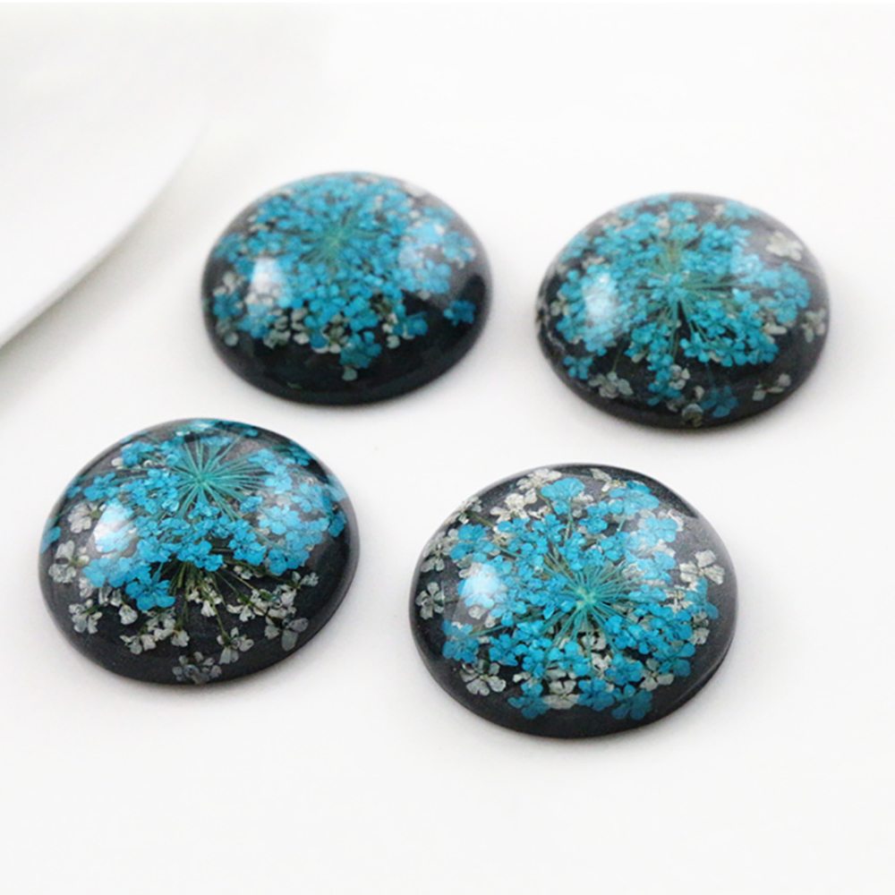 New Fashion 5pcs 25mm  Blue And White Natural Dried Flowers Flat Back Resin Cabochons Cameo  G4-21