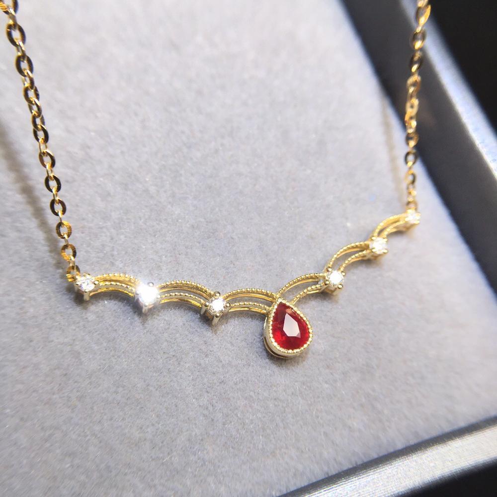 Collier rubis 0.4ct bijoux en or 18K bijoux en or véritable diamant rouge rubis pierres précieuses femmes classique diamants bijoux colliers