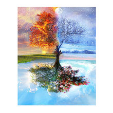 Frameless Four Seasons Tree Landscape DIY Painting By Numbers Kit Paint On Canvas Painting Calligraphy For Home Decor(China)